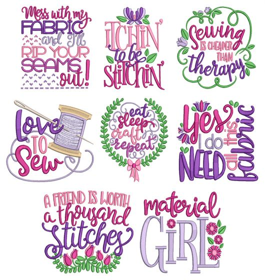 Sewing Sayings Set 5 Machine Embroidery Designs By JuJu