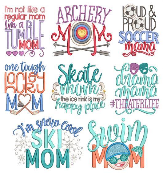 Sports Mom Word Art 3 Machine Embroidery Designs By JuJu