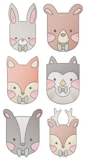 Boy Sketch Woodland Animals Machine Embroidery Designs By JuJu