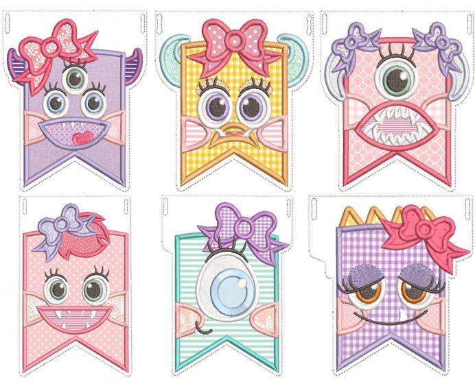 Girl Monster Flags Machine Embroidery Designs By JuJu