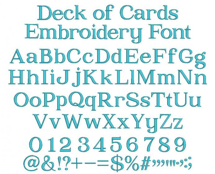 Deck of Cards Embroidery Font
