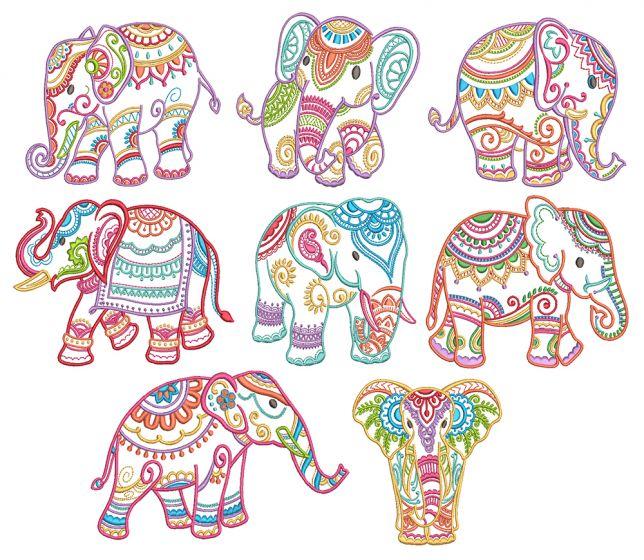 Mehndi Elephants Machine Embroidery Designs by JuJu