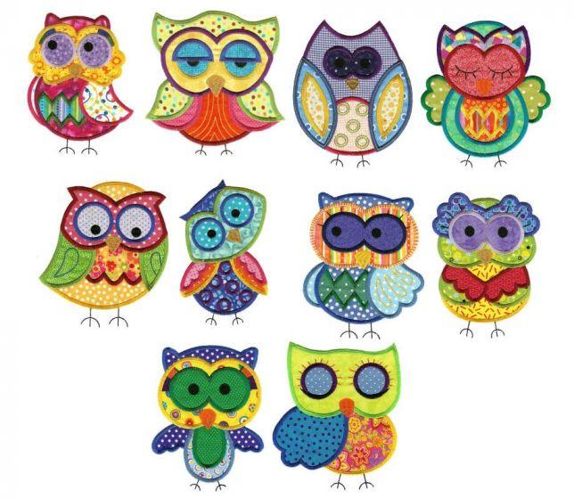 Jumbo hoot half owls applique machine embroidery designs set 1