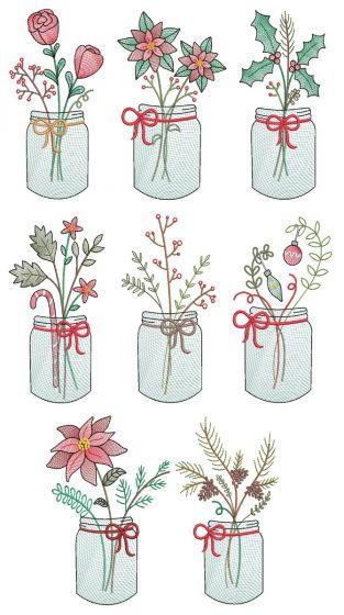 Christmas Sketch Mason Jars