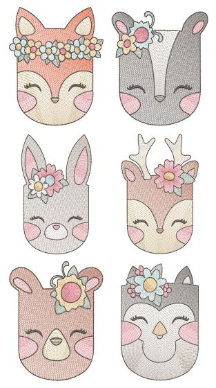 Girl Sketch Woodland Animals Machine Embroidery Designs By JuJu
