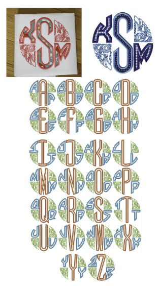 Three Letter Deco Applique Circle Monogram Designs by JuJu Machine Embroidery Designs