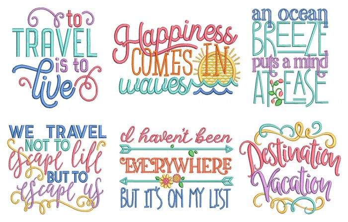 Vacation Word Art 2 Machine Embroidery Designs by JuJu