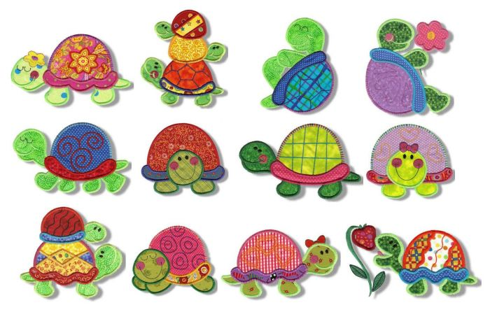 Totally turtles applique machine embroidery designs