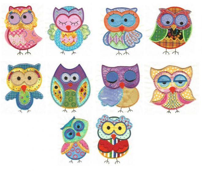 cute applique owls machine embroidery designs by juju