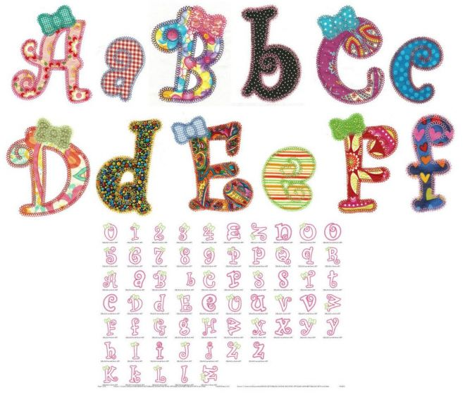 Sugar and spice applique embroidery alphabet font.