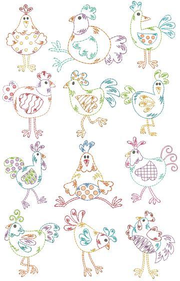 Funky Chickens Vintage Stitch Machine Embroidery Designs by JuJu