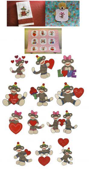 Cute valentine sock monkeys embroidery fill stitch machine embroidery designs