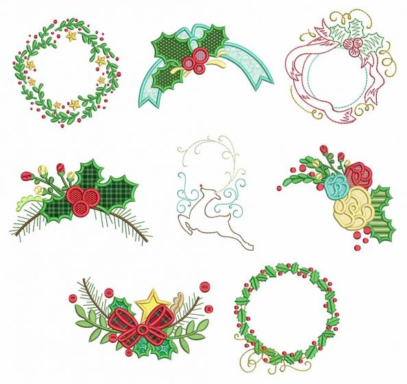 Christmas Monogram Frames 1 Machine Embroidery Designs by JuJu