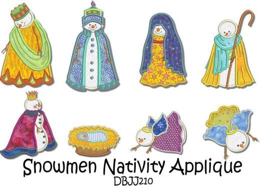 Snowmen Nativity Applique 5x7