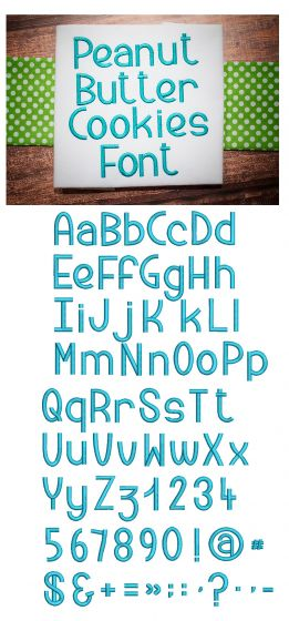 Peanut Butter Cookies Embroidery Font Designs by JuJu Machine Embroidery Designs
