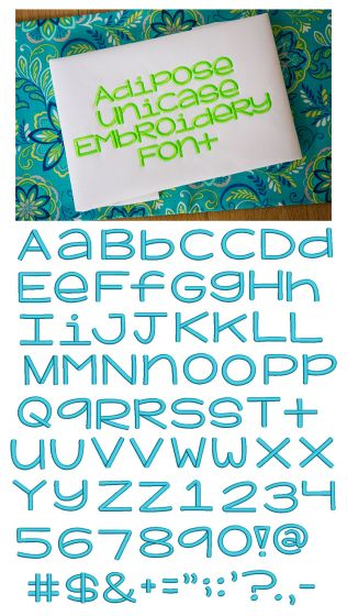 Adipose Unicase Embroidery Font Machine Embroidery Designs by JuJu Monograms and Alphabets