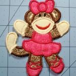 Freestanding Applique Sock Monkey