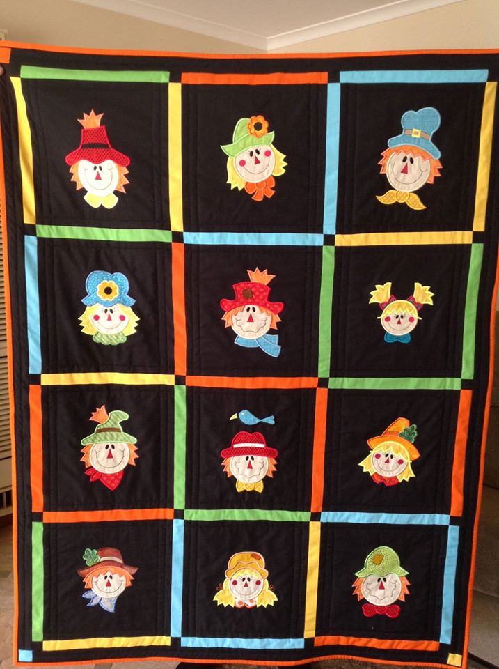 Customer Project by Mel - Whimsical Scarecrows Quilt