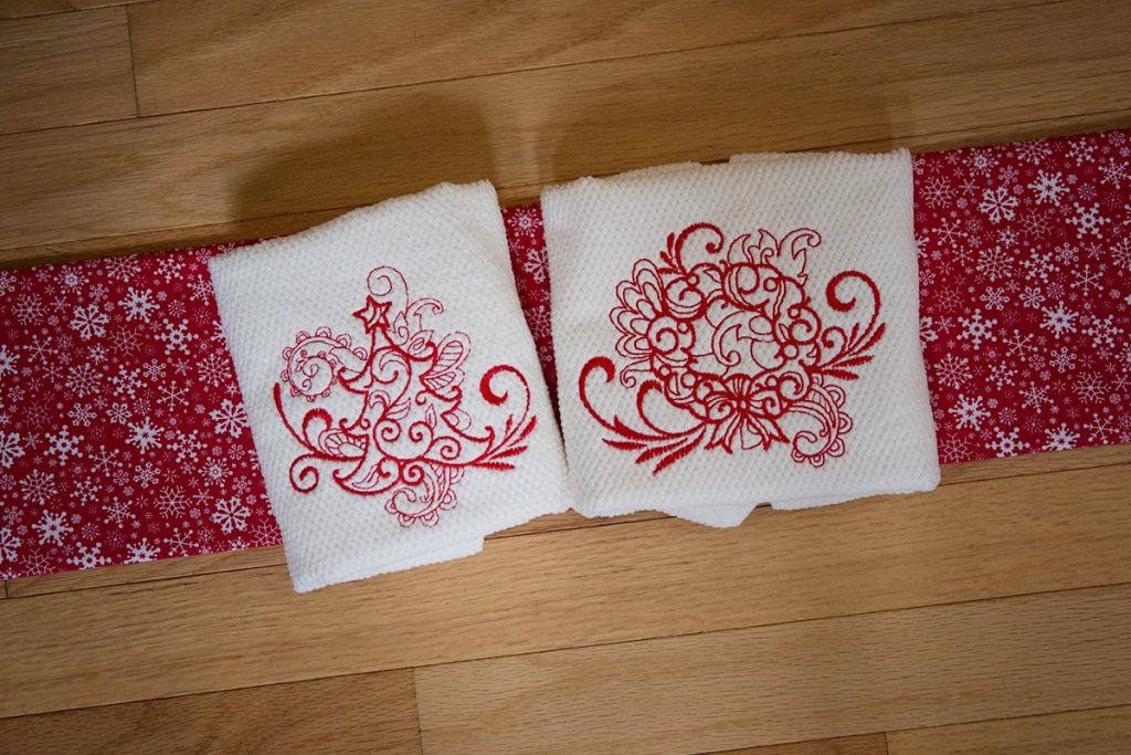Finished / New Swirly Christmas Redwork