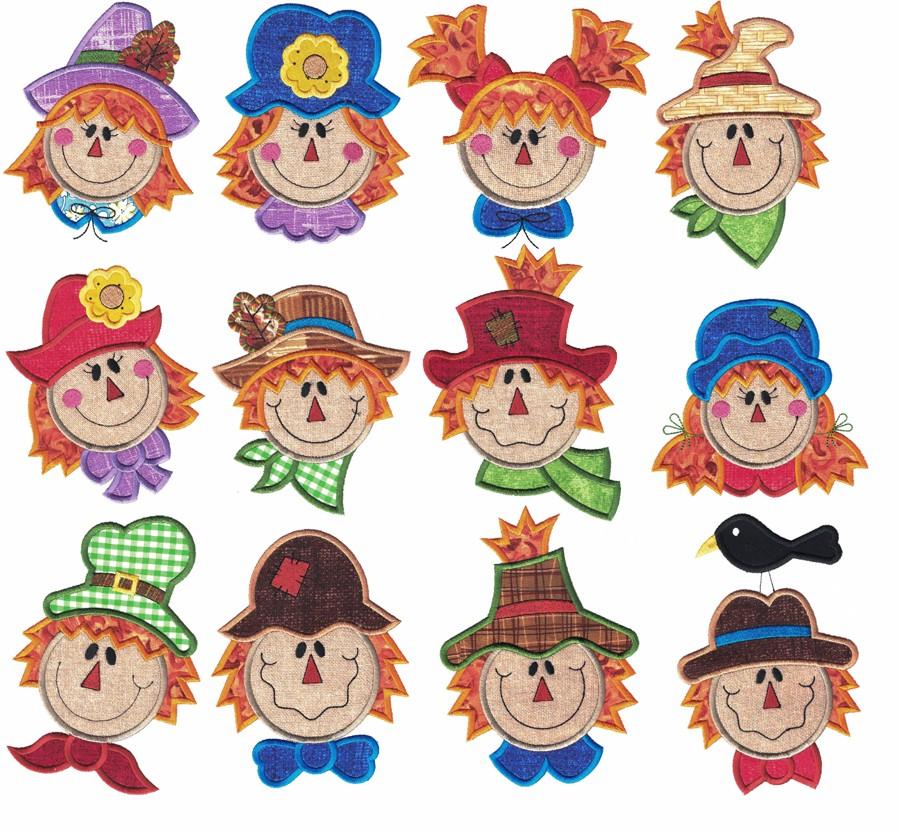 Whimsical Scarecrows Applique
