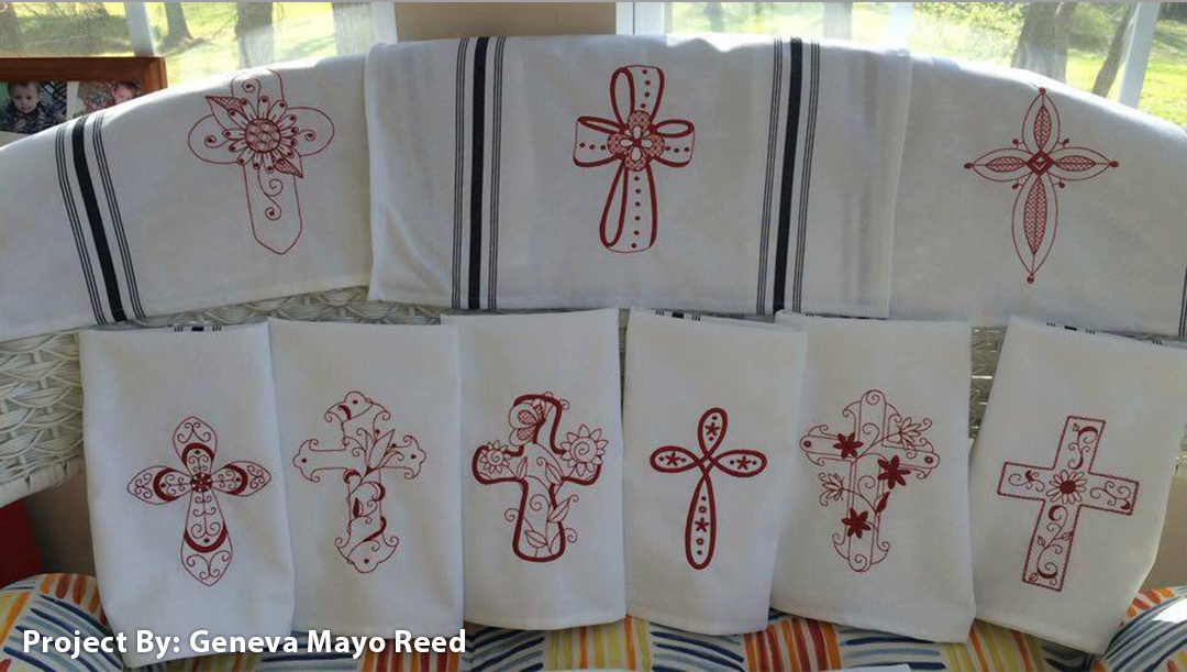 kitchen-towels - Redwork Crosses