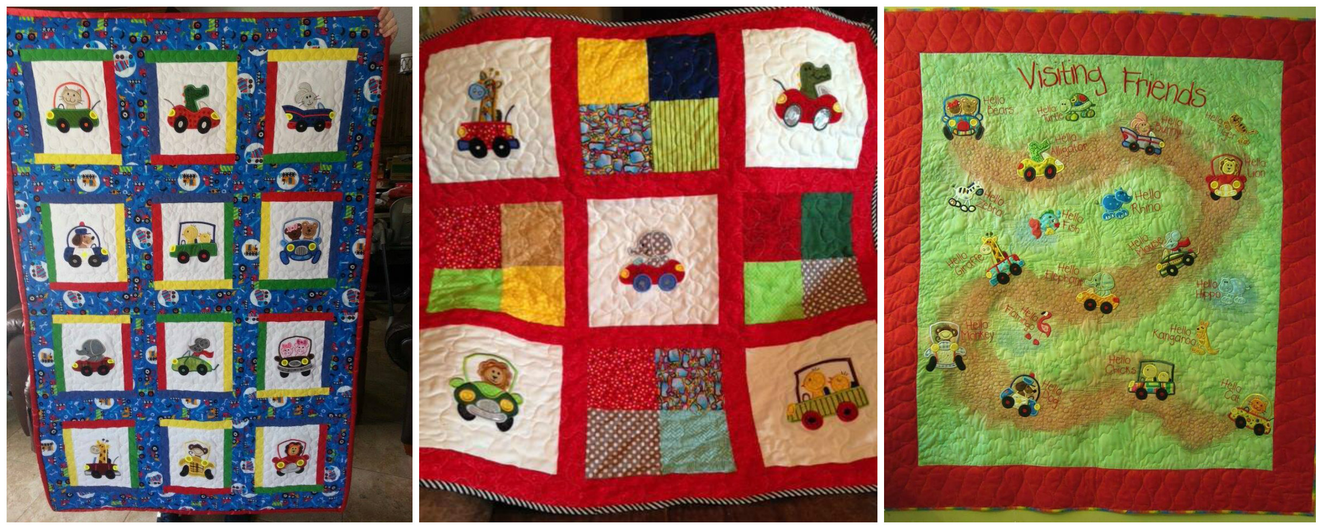 quilts - Cute Animals in Cars