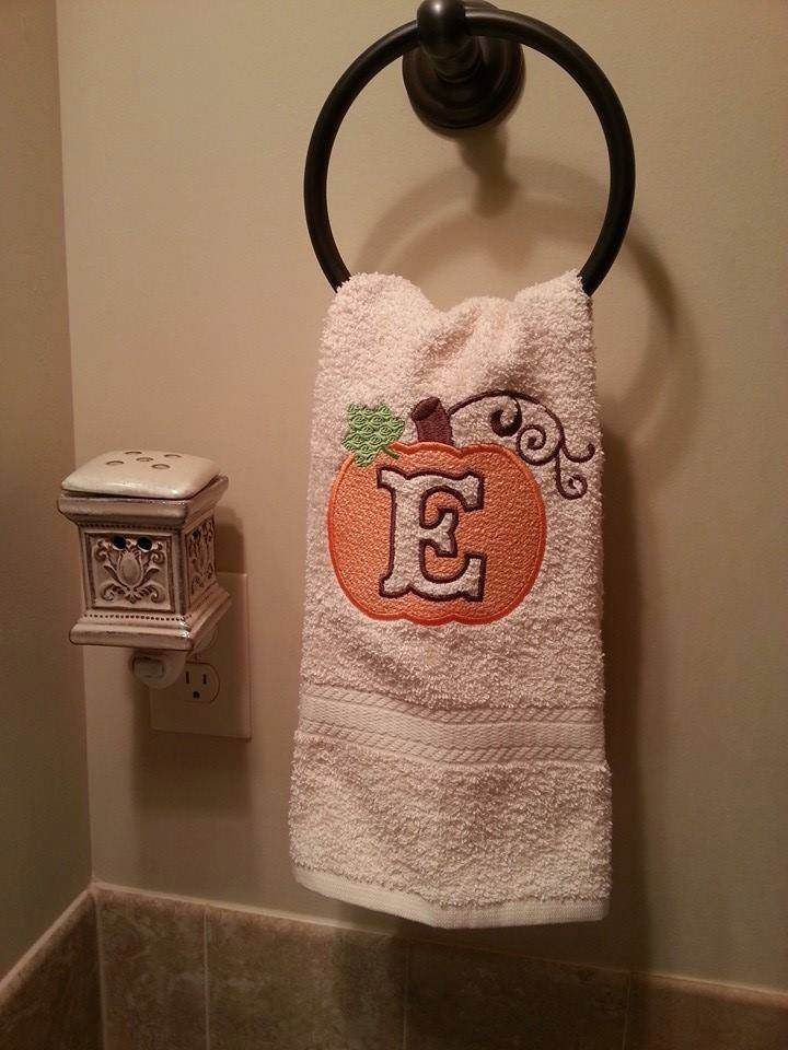 hand-towel-pumpkin-embossed