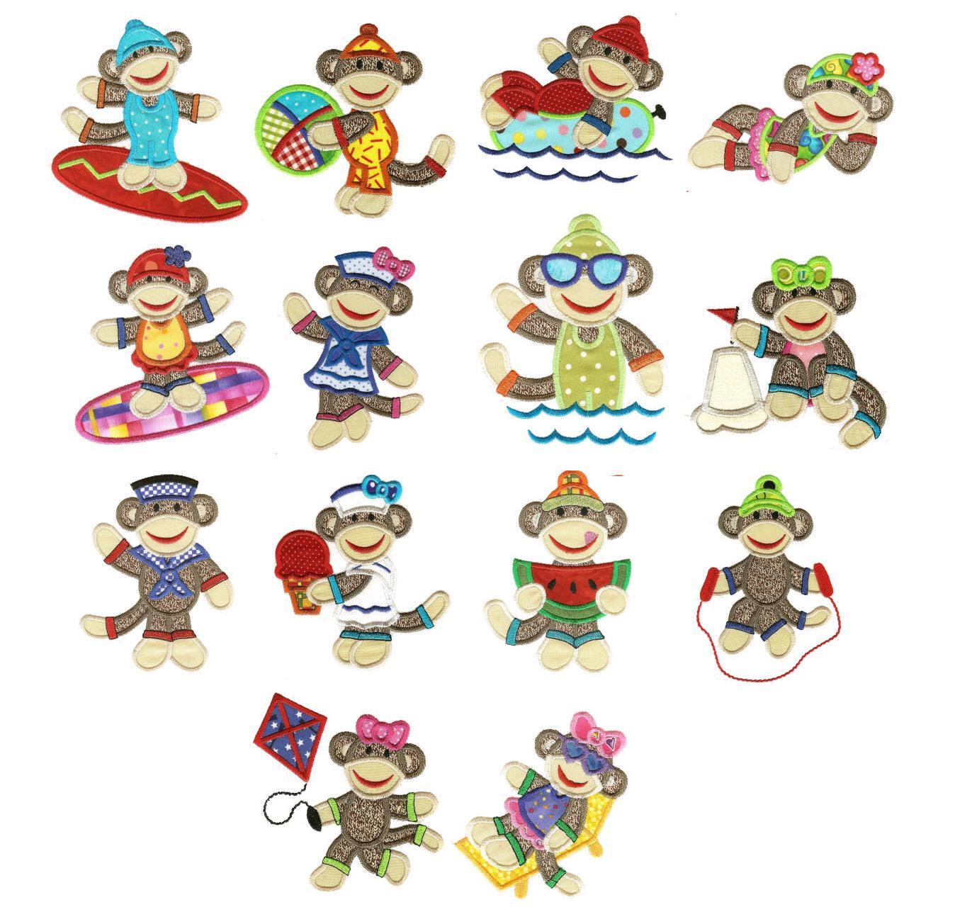 summer_sock_monkeys_applique_embroidery_designs