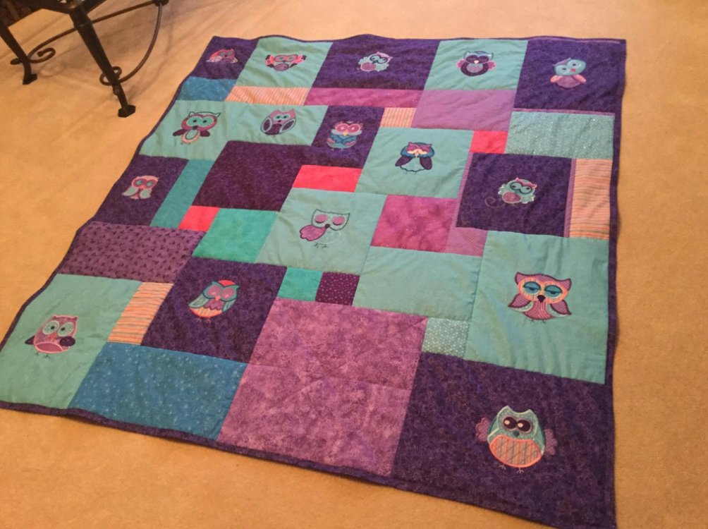 Customer projects: a hoot and a half applique quilts designs by